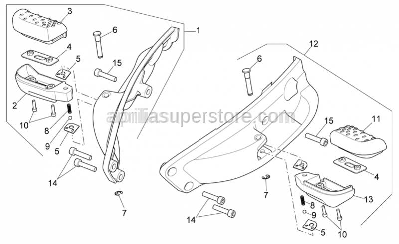 Aprilia - RH rear footrests rubber
