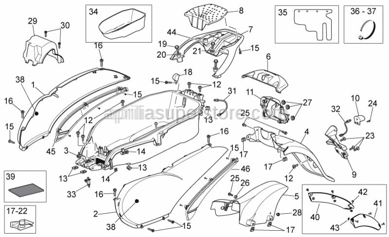 Aprilia - LH rear panel,