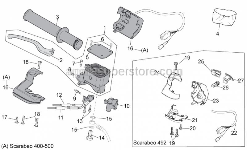 Aprilia - RH selector cable