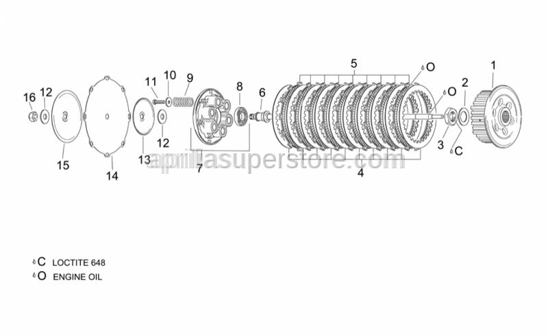 Aprilia - Lined clutch disc 8 pz.