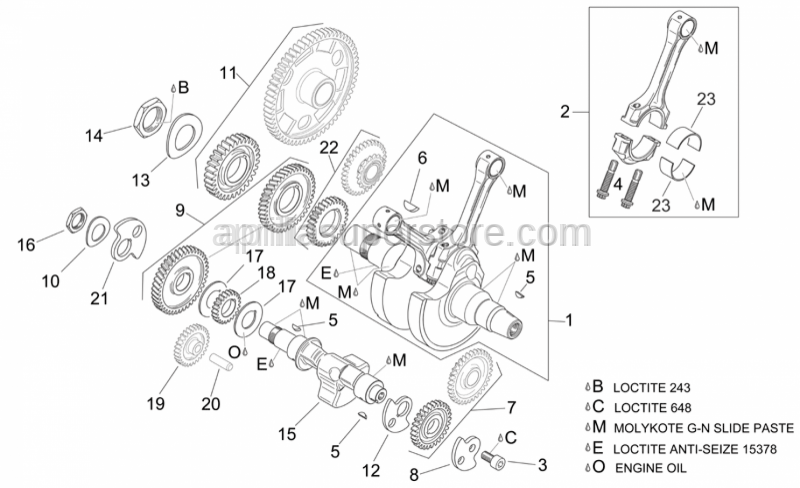 Aprilia - Water pump gear