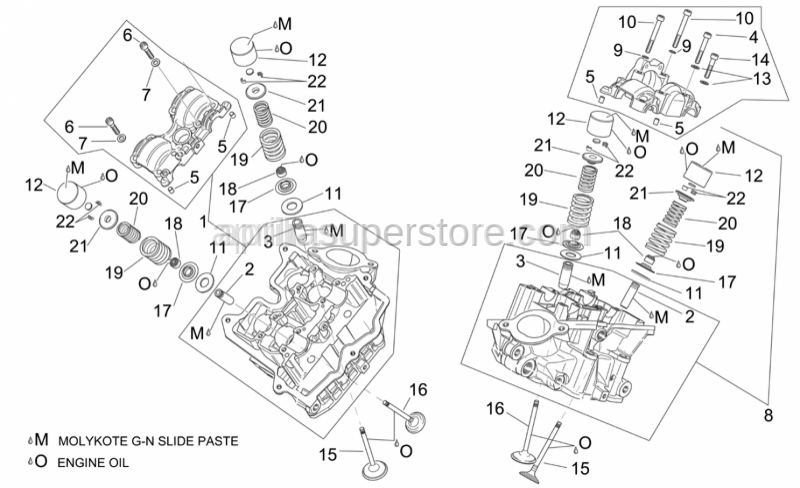 Aprilia - Rear cylinder head cpl.