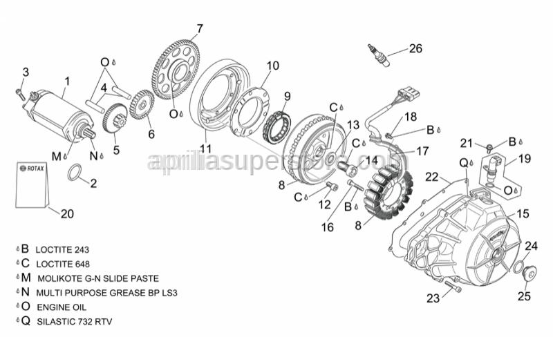 Aprilia - Starter motor cpl.