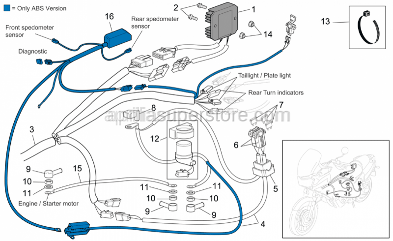 Aprilia - Control unit wiring