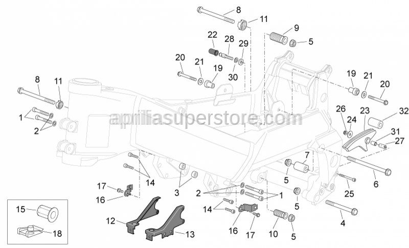 Aprilia - LH front engine spacer
