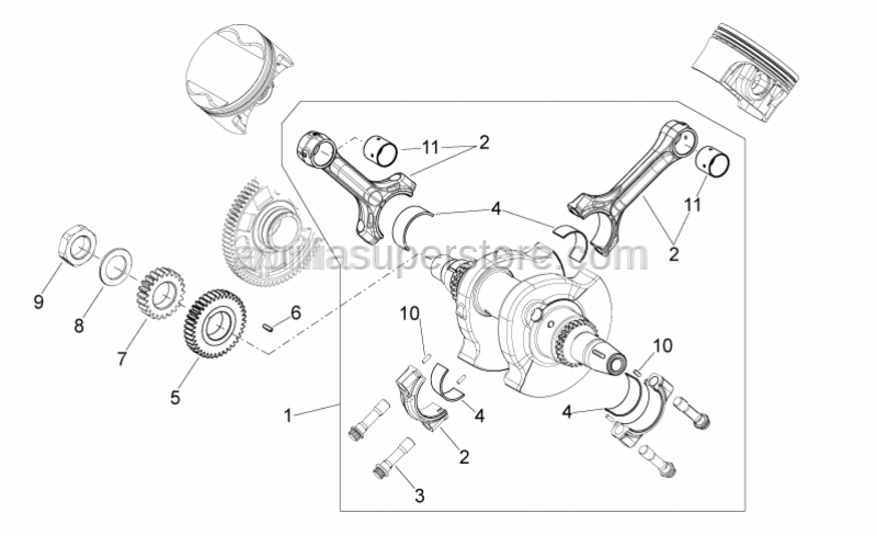 Aprilia - Connecting rod cpl. catB bianco