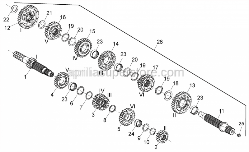 Aprilia - Primary gear shaft Z=14