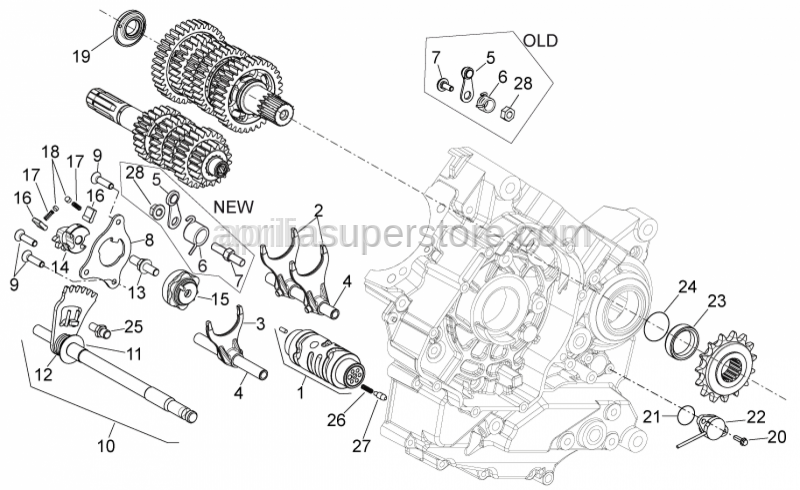 Aprilia - Gear shaft+spring cpl.