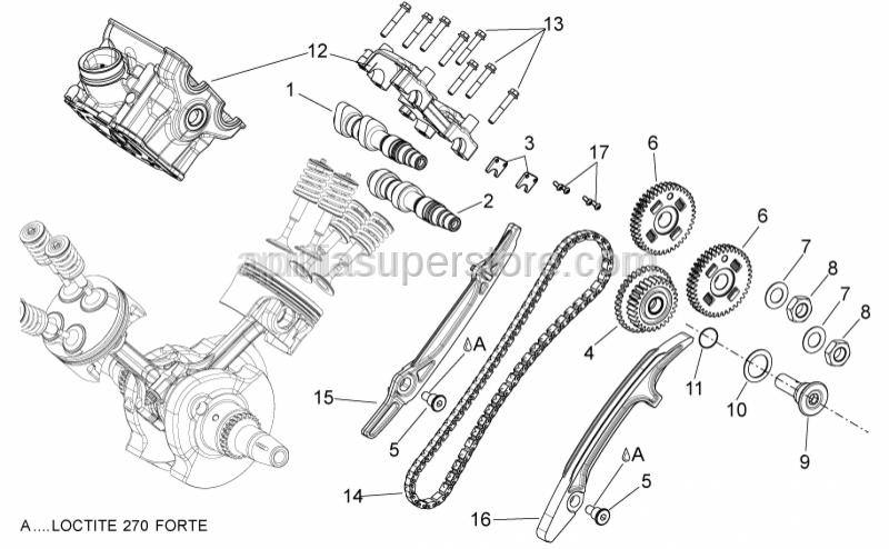 Aprilia - Rear timing system gear cpl.