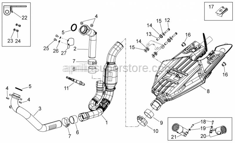 Aprilia - Rear exhaust pipe