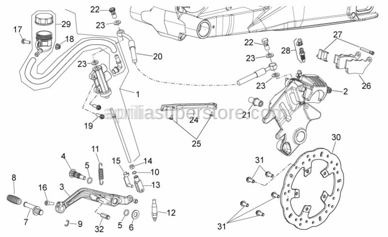 Aprilia - Rear brake lever pin