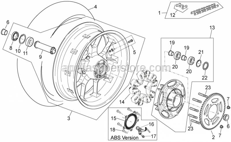 Aprilia - Wheel speed sensor, left front ABS