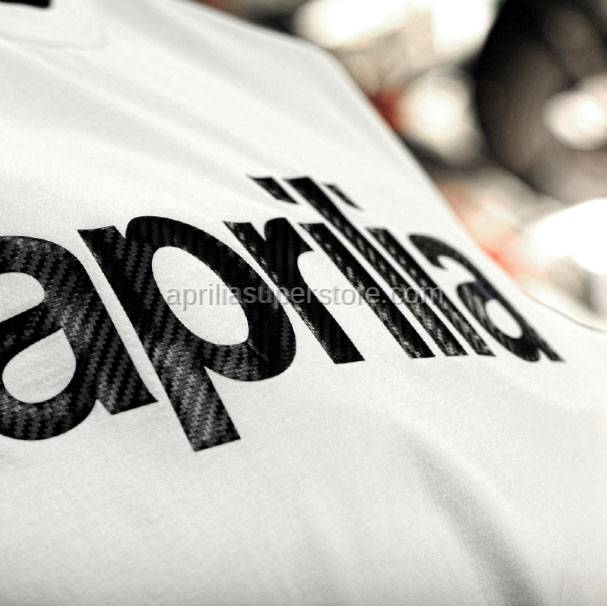 Aprilia - Collection 2012 T-Shirt White With Carbon Logo Size -S -M -L -XL