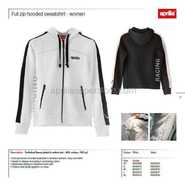 Aprilia - Collection 2012 Ladies  Full Zipper Hooded Sweatshirt White Size -XS -S -M -L -XL