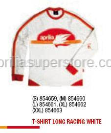 Aprilia - T-SHIRT LONG RACING WHITE - M -XL