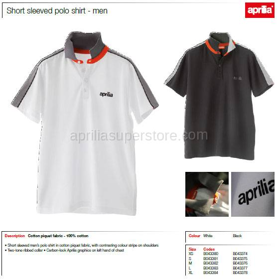 Aprilia - Collection 2012 Polo White Size L -XL -XXL