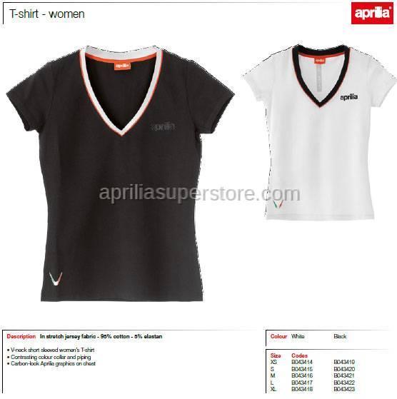 Aprilia - Collection 2012 Ladies V-Neck T-Shirt White Size -M -L -XL