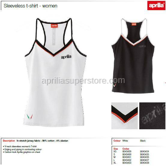 Aprilia - Collection 2012 Ladies Tank Top White Size XS -S -M -L -XL