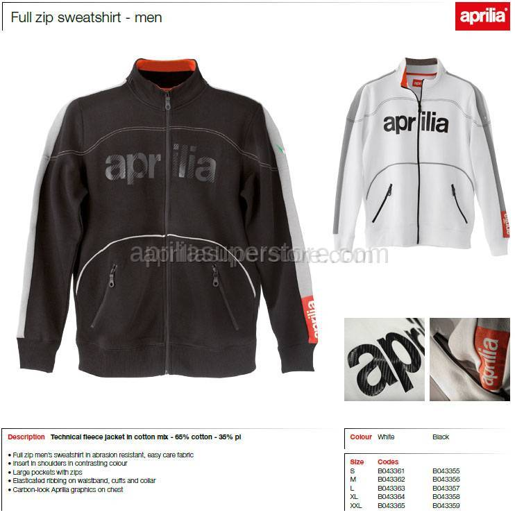 Aprilia - Collection 2012 Full Zipper Sweater White Size M -L -XL