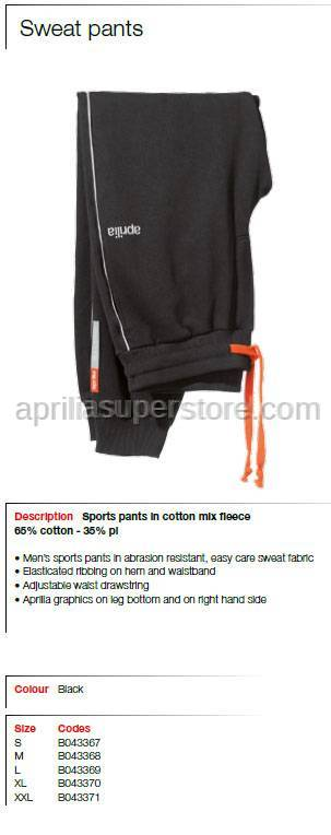 Aprilia - Collection 2012 Sweatpants With Drawstring Black Size L -XL