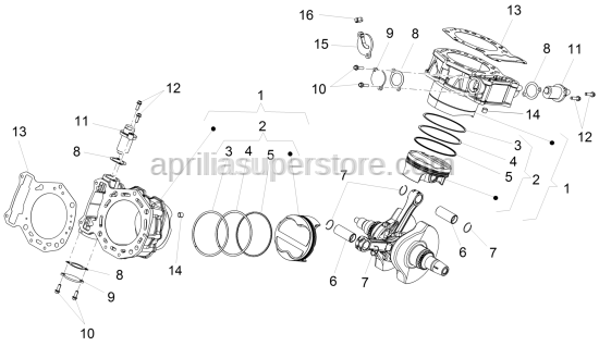 Aprilia - Piston-circlips gudgeon pin groupcl. 0D