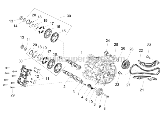 Aprilia - Complete front camshaft axle gear