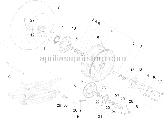 Aprilia - Screw w/ flange M8x18