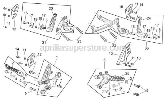 Aprilia - Rear footrest, LH