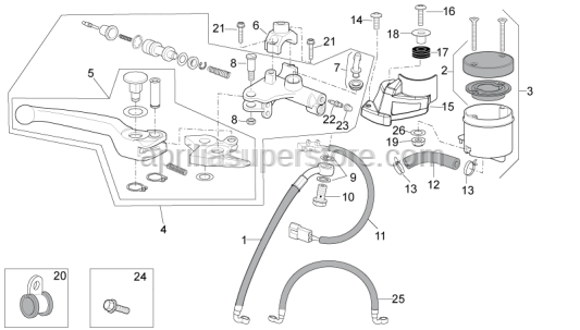 Aprilia - front brake pipe clamp-clamp