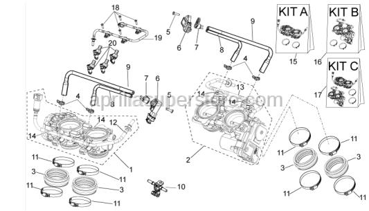 Aprilia - Throttle body KIT ant. + post.