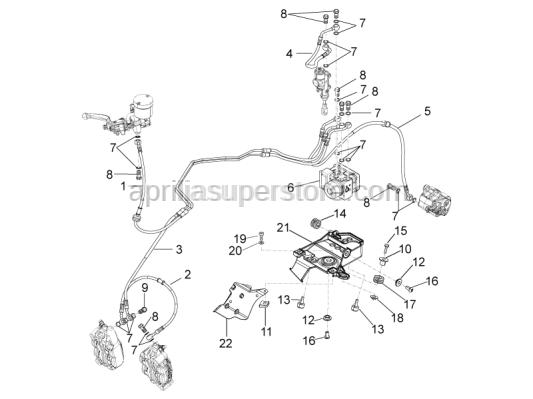 Aprilia - Rear brake pipe Hecu ABS-clamp