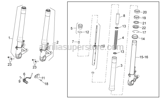 Aprilia - Fork stanchion DX