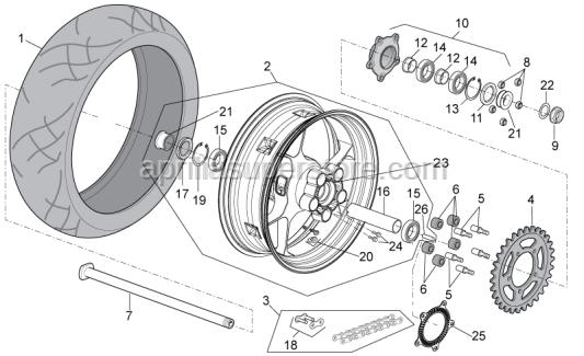 Aprilia - Rear wheel, black 6.00X17