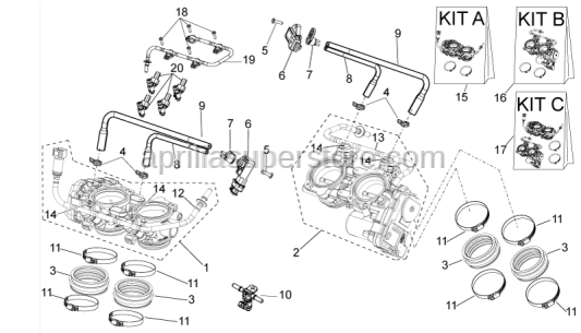 Aprilia - Throttle body KIT ant. + post.