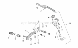 Frame - Rear Master Cylinder - Aprilia - Rear brake lever pin is SUPERSEDED by 884033