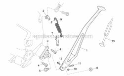 OEM Frame Parts Schematics - Central Body - Aprilia - Central stand