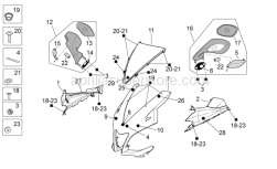 OEM Frame Parts Diagrams - Front Body - Front Fairing, Formula Red