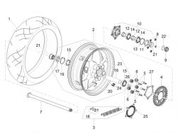 Rear wheel, red 6.00X17