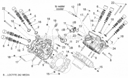 Engine - Cylinder Head - Valves - Aprilia - Water hose union