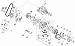 Engine - Oil Pump - Aprilia - Chain guide plate