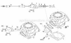 Engine - Cylinder - Exhaust Valve - Aprilia - Exhaust flange cpl.