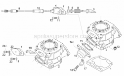 Engine - Cylinder - Exhaust Valve - Aprilia - Fixing plate