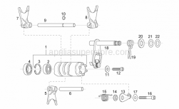 Engine - Grip Shift - Aprilia - Gearshift shaft+pawl assy