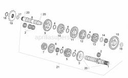 Engine - Transmission - Aprilia - 2nd pinion gear Z=14