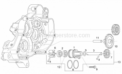 Engine - Water Pump Assy - Aprilia - Water pump shaft assy.