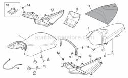 Frame - Saddle Unit - Aprilia - Rear saddle, black
