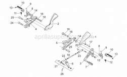 Frame - Front Footrests - Aprilia - RH ball joint M6
