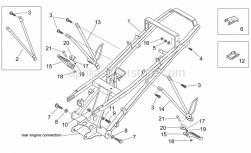 Frame - Rear Footrests - Aprilia - Saddle support, cat.