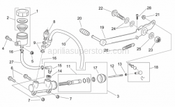 Frame - Rear Master Cylinder - Aprilia - RH ball joint M6
