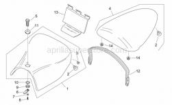 Frame - Saddle Unit - Aprilia - Pillion seat strap, red